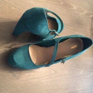 Suede teal platform heels